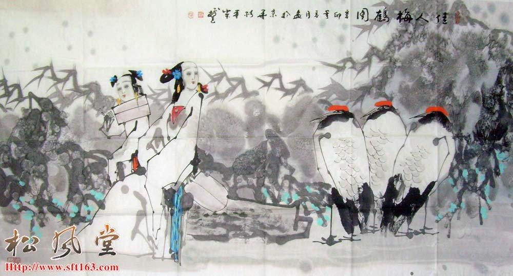 王树立国画 佳人梅鹤图