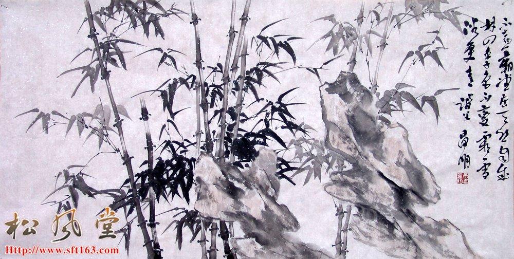 吴昌明国画 墨竹