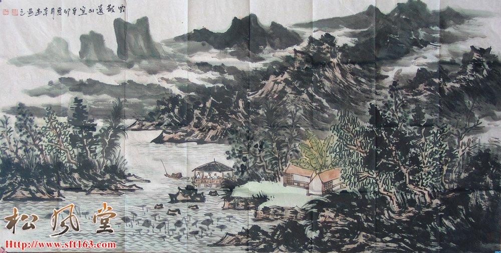 王本杰国画 云散远山空