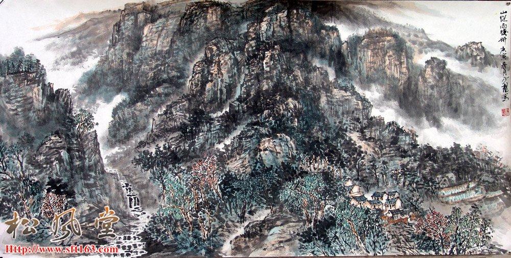 邱少龙国画 山从雨后研