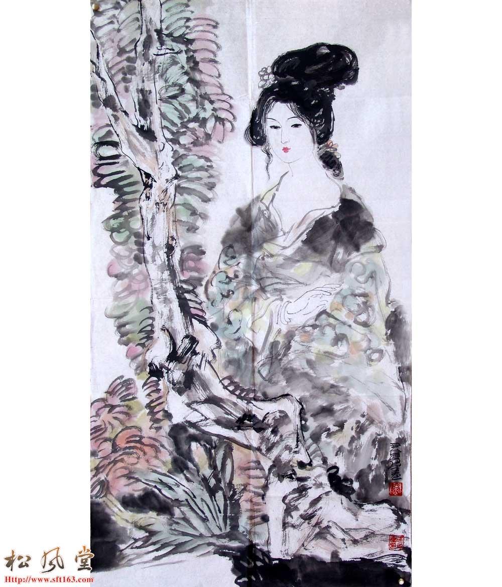 尹建华国画作品 赏花图